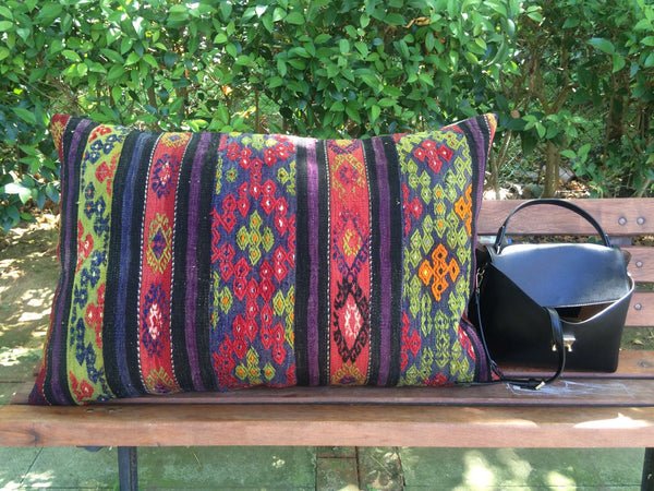 "Large Kilim Pillow 24""x35"" 60cmx90cm"