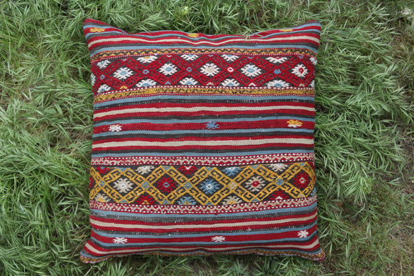 "Large Kilim Pillow 27.5""x27.5"" 70cmx70cm"