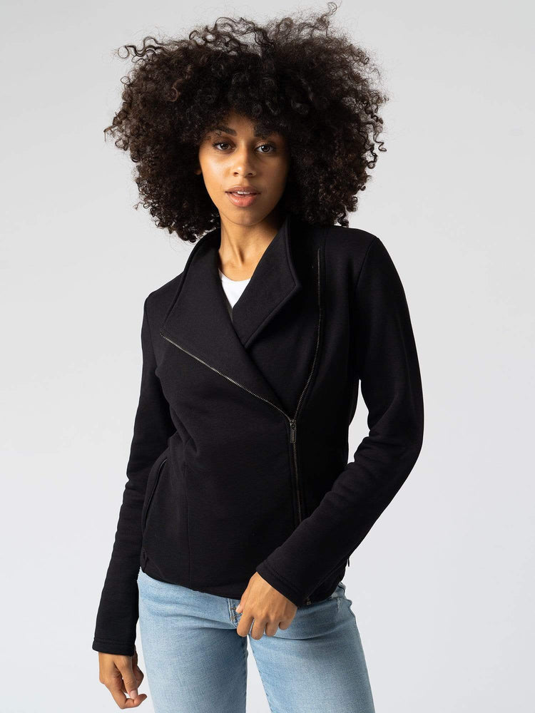 Sweater Cotton Biker Jacket Black