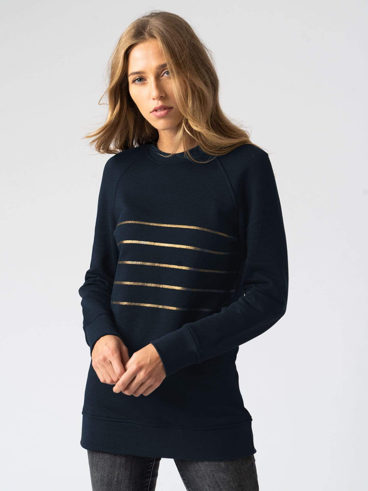 Sweater Cotton Sweater Stripe Navy