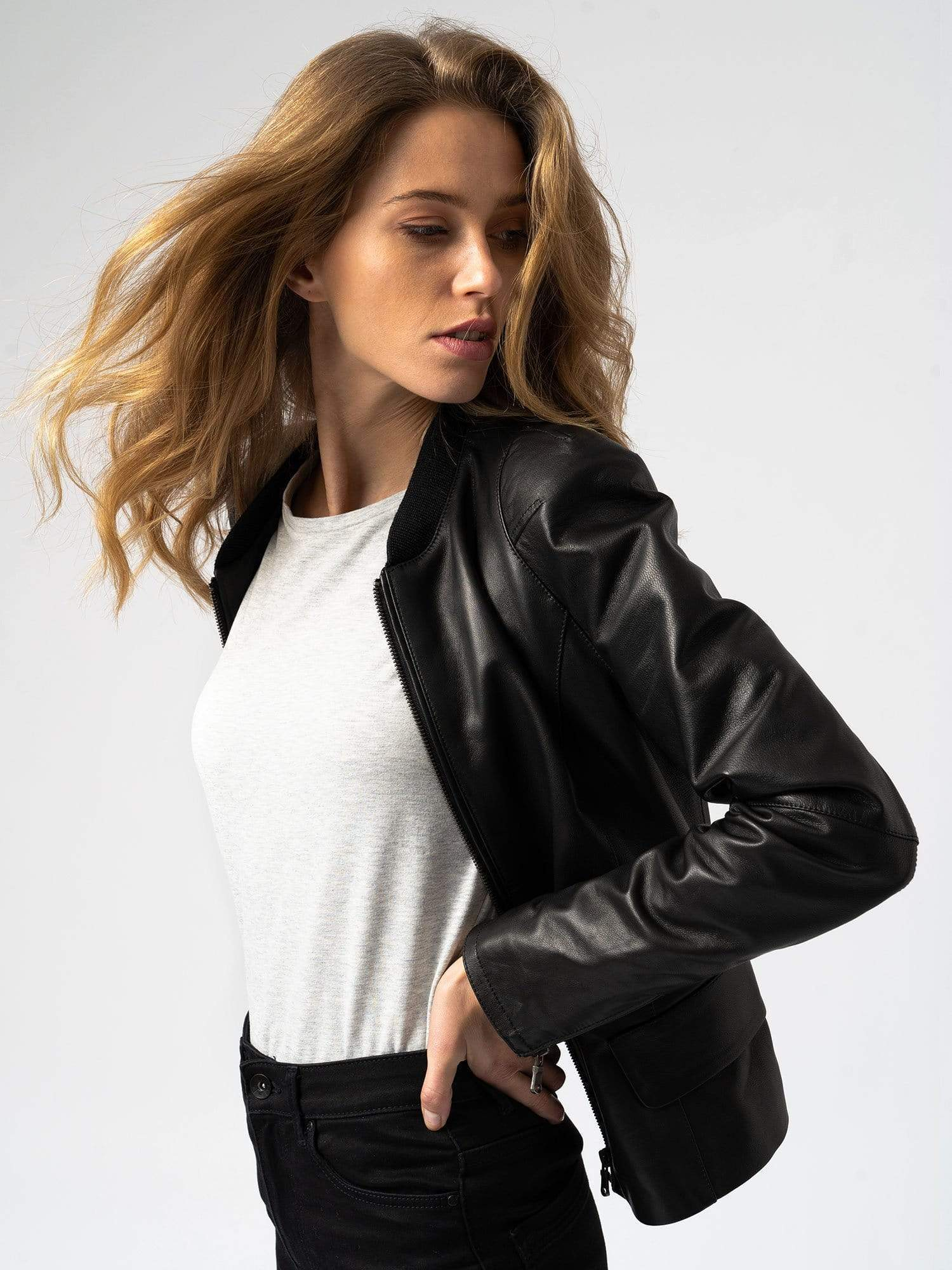 Zaggora Sweater Leather Biker Jacket