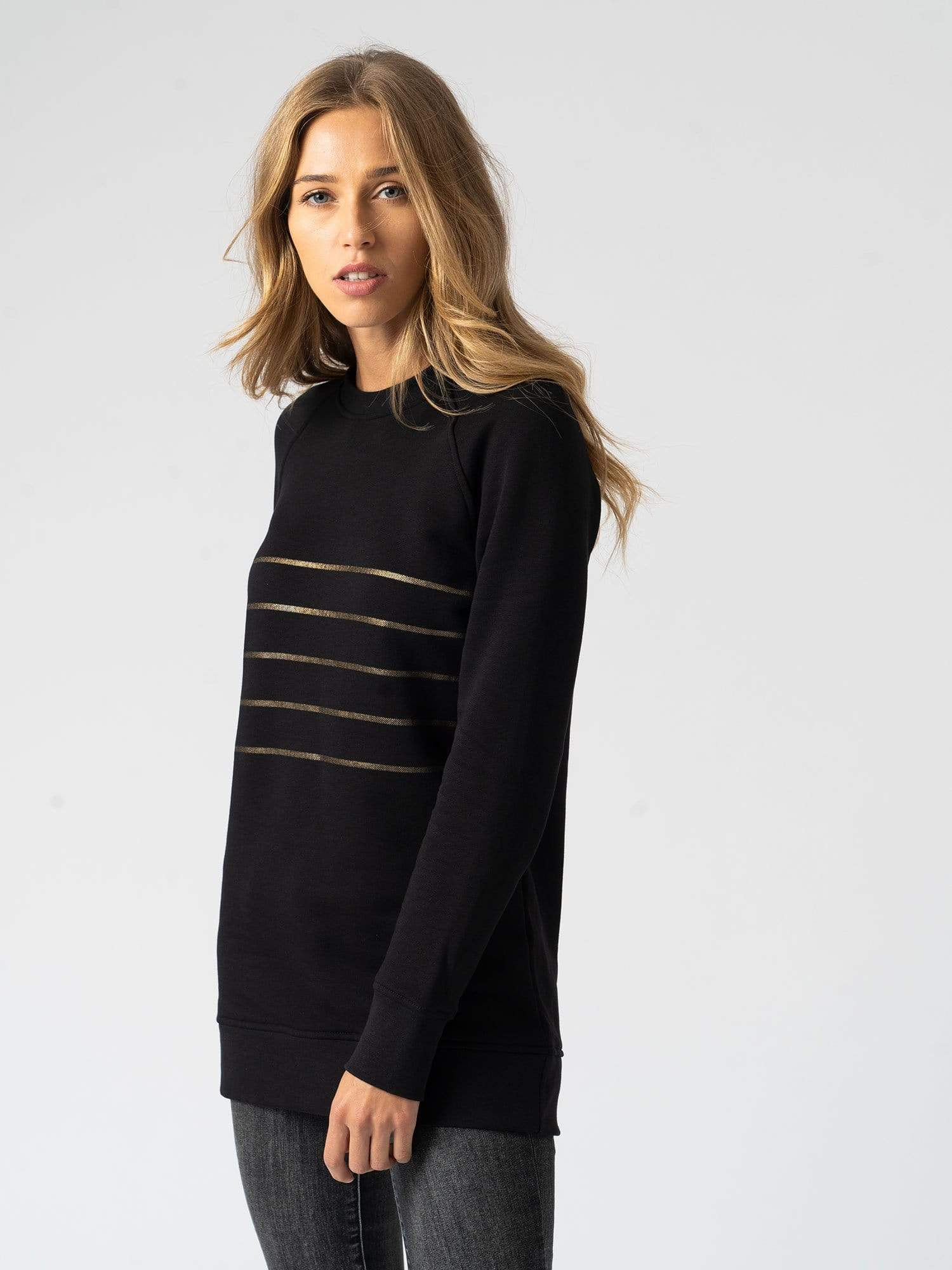 Cotton Sweater Stripe Black