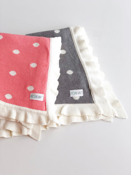 Luxury Polka Ruffle Trim Blanket