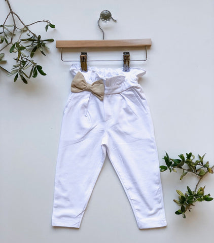 Cotton Trousers with Bow Detail