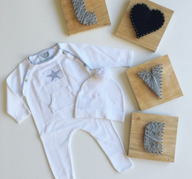 Cotton/ Cashmere Baby Grow & Beanie set