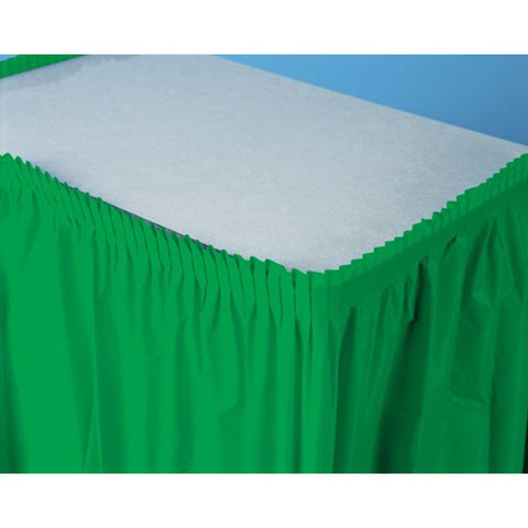 14 ft Plastic Tableskirt Emerald Green/Case of 6
