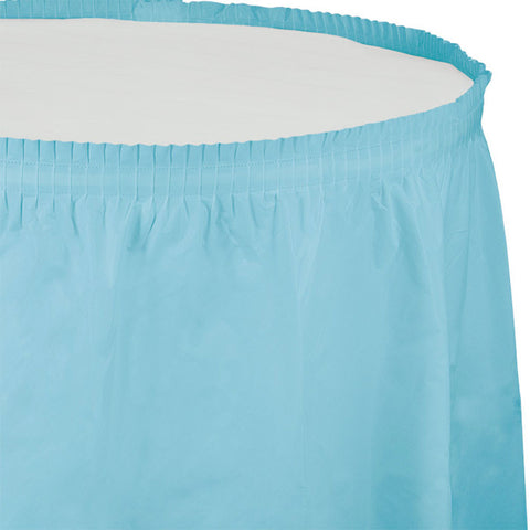 14 ft Plastic Tableskirt Pastel Blue/Case of 6