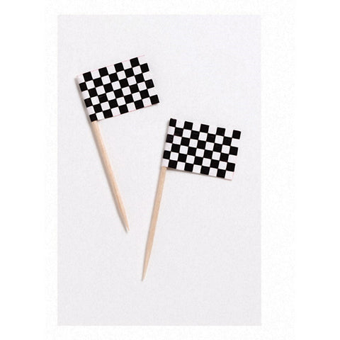 2.5 inch Flag Picks Black and White Check/Case of 600