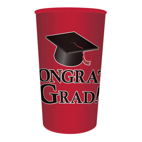 Red Graduation 22 oz Printed Plastic Cups/Case of 20