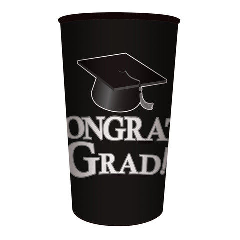 Black Graduation 22 oz Printed Plastic Cups/Case of 20