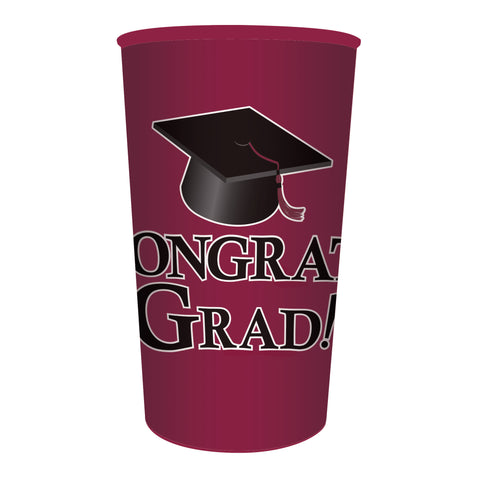 Burgundy Graduation 22 oz Printed Plastic Cups/Case of 20