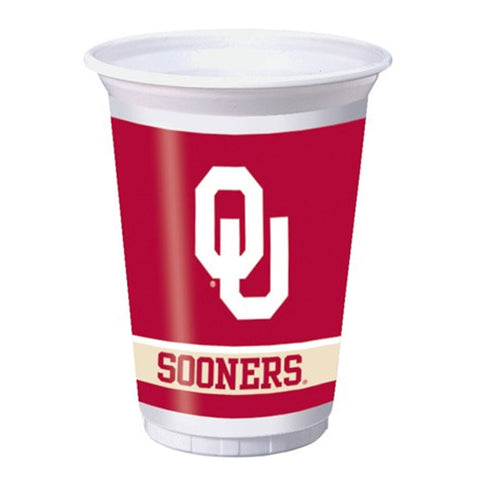 20 oz Printed Plastic Cups Univ of Oklahoma/Case of 96