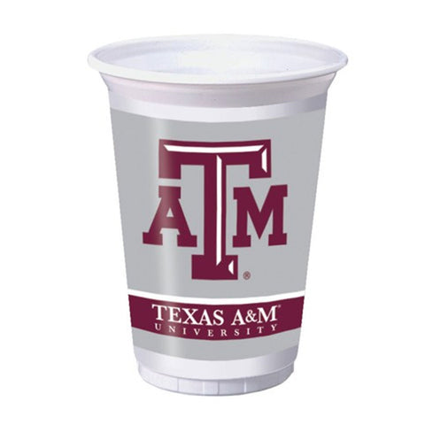 20 oz Printed Plastic Cups Texas A & M Univ/Case of 96