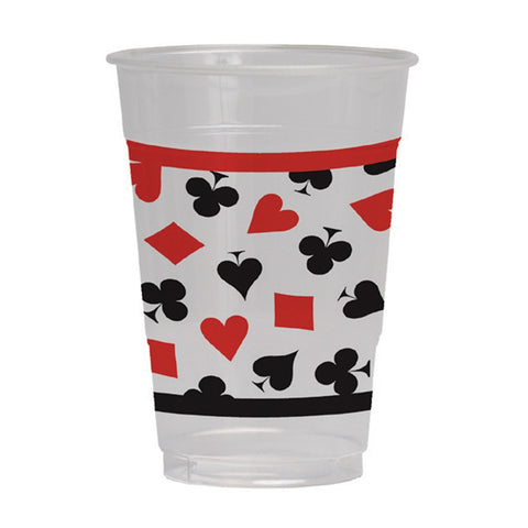 16 oz Printed Plastic Cups Card Night/Case of 96