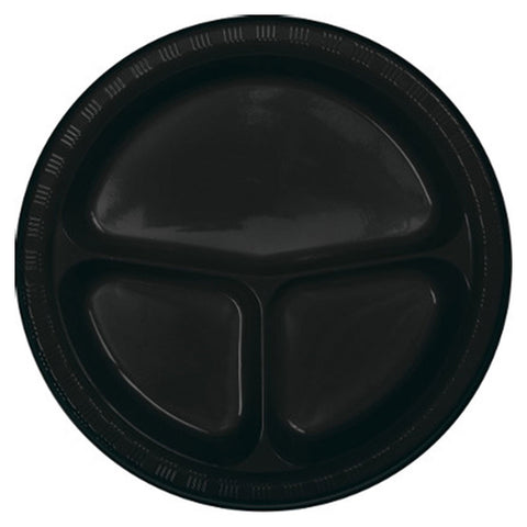 10 inch Divided Plastic Banquet Plate Black Velvet/Case of 200
