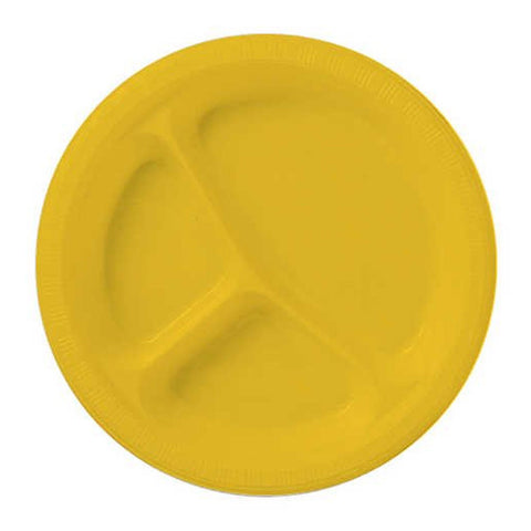 10 inch Divided Plastic Banquet Plate School Bus Yellow/Case of 200
