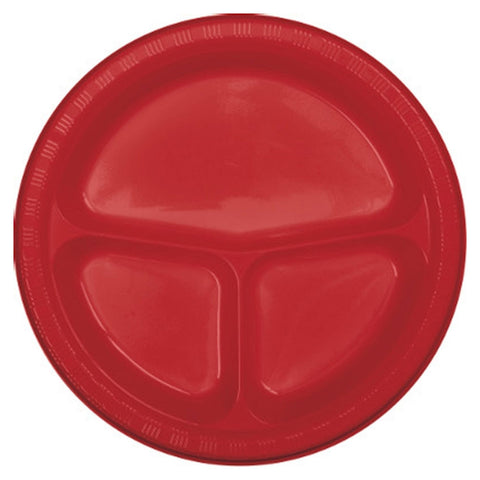 10 inch Divided Plastic Banquet Plate Classic Red/Case of 200