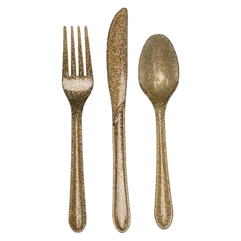 Glitz Gold Glitter Plastic Cutlery Assortment/Case of 288