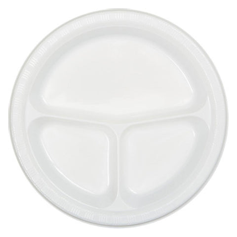 10 inch Divided Plastic Banquet Plate White/Case of 200