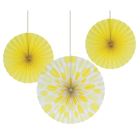 12 and 16 inch Paper Fans Dots/Stripes Mimosa/Case of 18