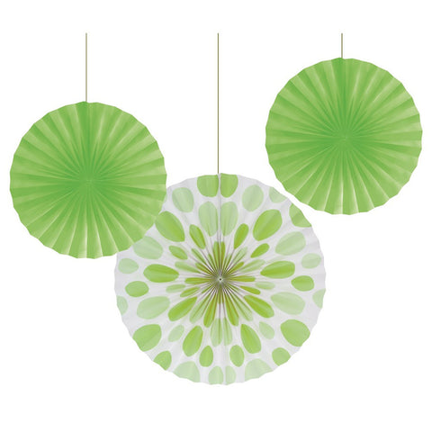 12 and 16 inch Paper Fans Dots/Stripes Fresh Lime/Case of 18