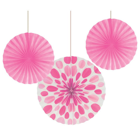12 and 16 inch Paper Fans Dots/Stripes Candy Pink/Case of 18