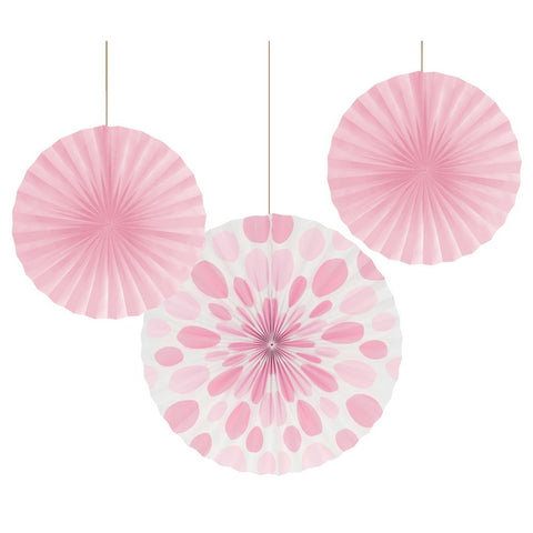 12 and 16 inch Paper Fans Dots/Stripes Classic Pink/Case of 18