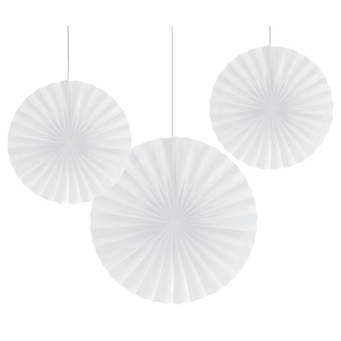 12 and 16 inch Paper Fans White/Case of 18