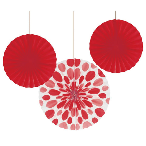 12 and 16 inch Paper Fans Dots/Stripes Classic Red/Case of 18