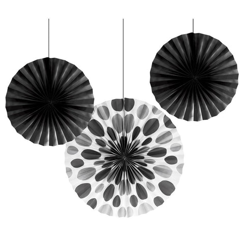 12 and 16 inch Paper Fans Dots/Stripes Black/Case of 18