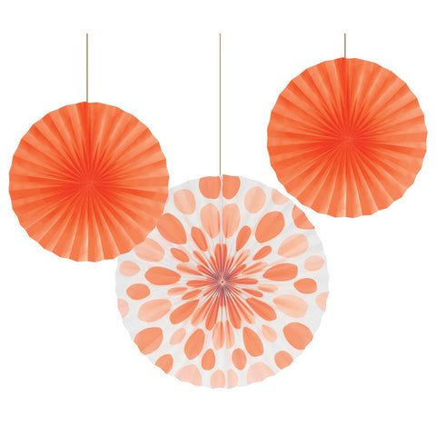 12 and 16 inch Paper Fans Dots/Stripes Sunkissed Orange/Case of 18