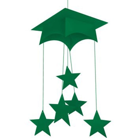 Emerald Green Mortarboard Hanging Mobile 24 Inch/Case of 12