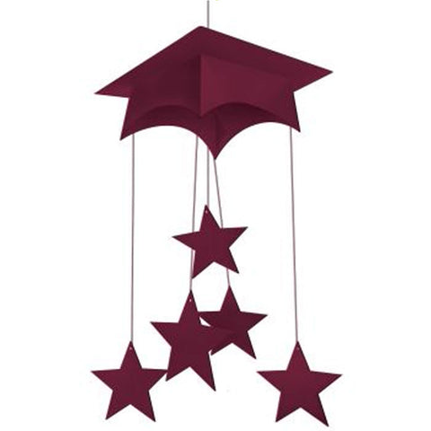 Burgundy Mortarboard Hanging Mobile 24 Inch/Case of 12