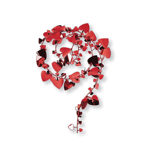 12 inch Wire Garland Large Red Hearts/Case of 12