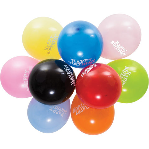 12 inch Round Latex Balloons Happy Birthday Assorted/Case of 180