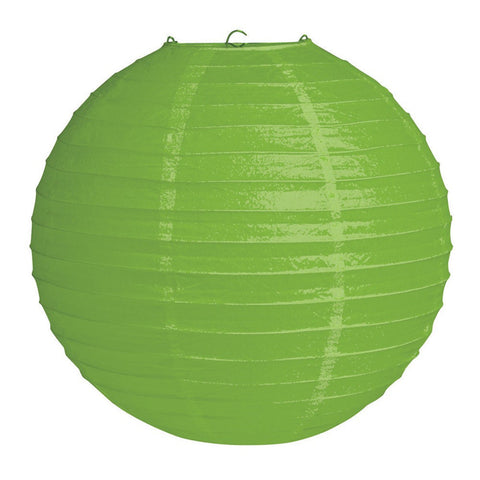12 inch Round Solid Paper Lantern Citrus Green/Case of 12
