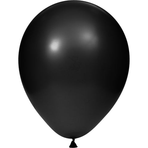 12 inch Solid Latex Balloons Black Black/Case of 180