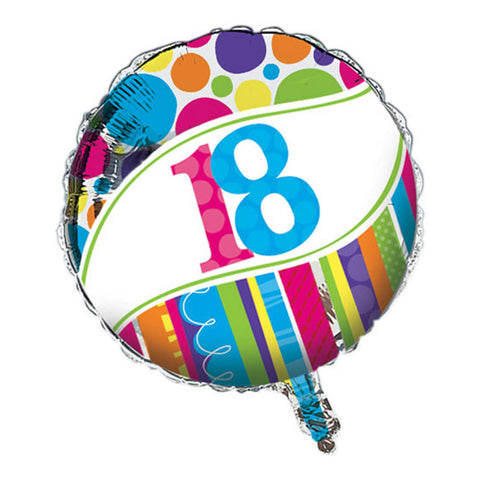 Bright And Bold Metallic Balloon 18th/Case of 10