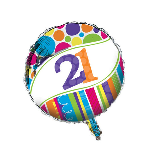 Bright And Bold Metallic Balloon 21st/Case of 10