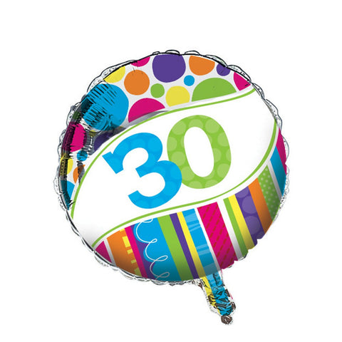 Bright And Bold Metallic Balloon 30th/Case of 10