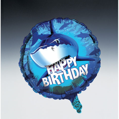 Metallic Balloon Happy Birthday Shark Splash/Case of 12