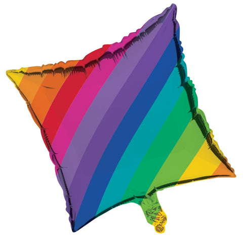 Rainbow 18 inch Square Metallic Balloon/Case of 10