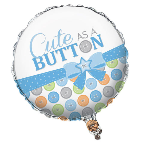 18 inch Round Metallic Balloon Cute as a Button Boy/Case of 10