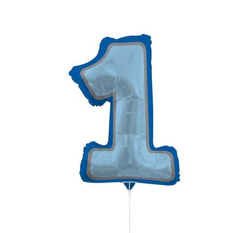 Air-Filled Balloons 30 inch with Stick and Jointer Numeral One Boy/Case of 10