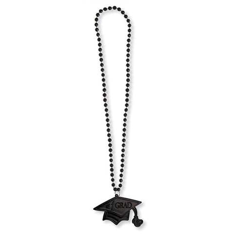 Black Grad 33 Inch Necklace with Medallion/Case of 12