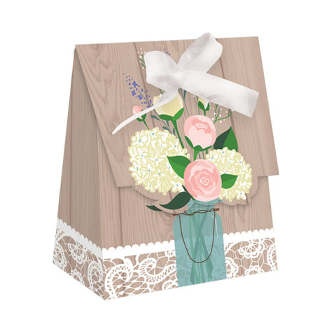 Rustic Wedding Favor Bags Diecut with Ribbon/Case of 72