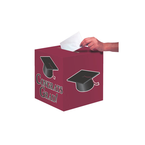 Burgundy Congrats Grad Card Box/Case of 6