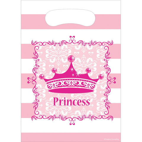 Pink Princess Royalty Plastic Loot Bags/Case of 96