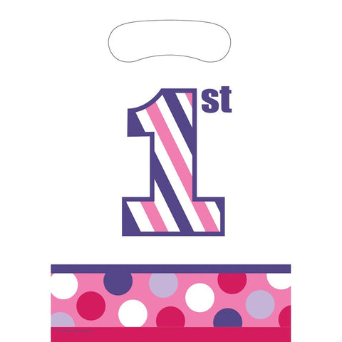 Sweet Stripes Girl Plastic Loot Bags/Case of 96