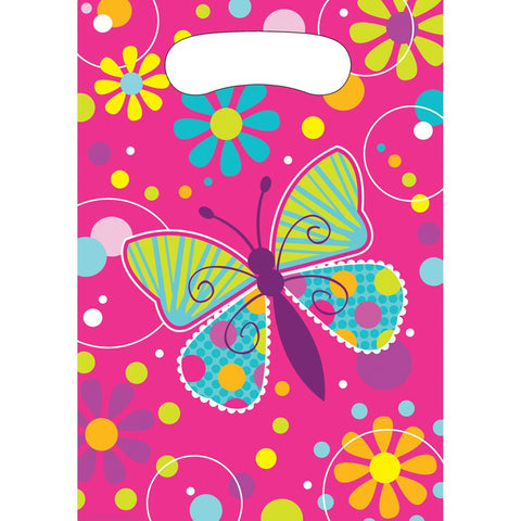 Butterfly Sparkle Plastic Loot Bags/Case of 96